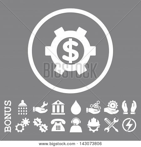 Financial Settings glyph icon. Image style is a flat pictogram symbol inside a circle, white color, gray background. Bonus images are included.