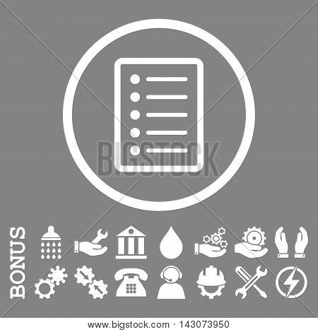 List Page glyph icon. Image style is a flat pictogram symbol inside a circle, white color, gray background. Bonus images are included.