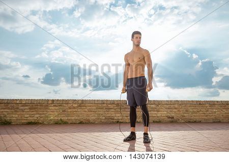 Shirtless Fit Fitness Model Posing Sky Sun Outdoors