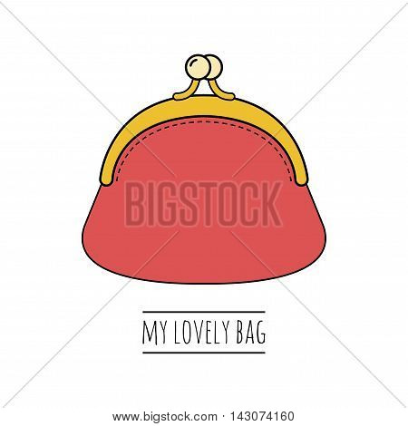 Purse. Flat colored illustration of object. Fashion accessory. Vector illustration