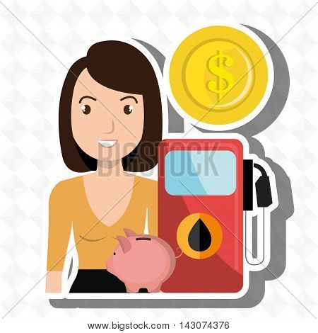 woman gasoline station vector illustration graphic eps 10