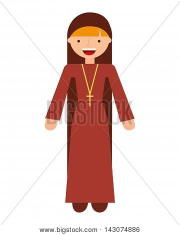 nun woman character isolated icon vector illustration design