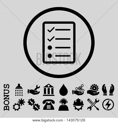 Checklist Page glyph icon. Image style is a flat pictogram symbol inside a circle, black color, light gray background. Bonus images are included.