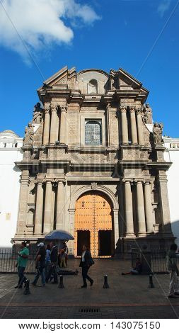 Quito, Pichincha / Ecuador - August 16 2016: Gateway to the Catedral Primada de Quito in the historic center. The historic center was declared by UNESCO the first Cultural Heritage on 1978