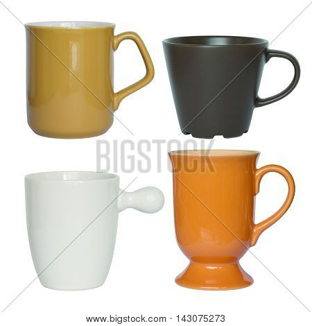 Cups Set Isolated On White With Clipping Path