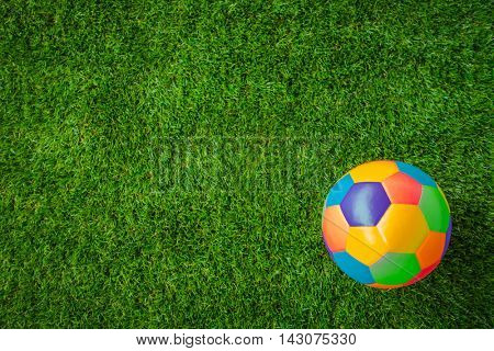Real leather Colorful multi colour  Soccer ball on green grass