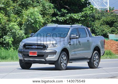 CHIANGMAI THAILAND -JULY 27 2016: Private Pickup car Ford Ranger. On road no.1001 8 km from Chiangmai Business Area.