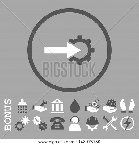 Cog Integration glyph bicolor icon. Image style is a flat pictogram symbol inside a circle, dark gray and white colors, silver background. Bonus images are included.