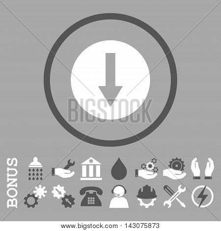 Down Rounded Arrow glyph bicolor icon. Image style is a flat pictogram symbol inside a circle, dark gray and white colors, silver background. Bonus images are included.