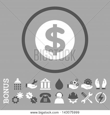 Finance glyph bicolor icon. Image style is a flat pictogram symbol inside a circle, dark gray and white colors, silver background. Bonus images are included.