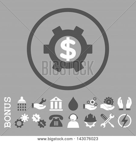Financial Settings glyph bicolor icon. Image style is a flat pictogram symbol inside a circle, dark gray and white colors, silver background. Bonus images are included.