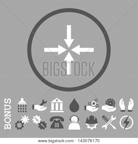 Impact Arrows glyph bicolor icon. Image style is a flat pictogram symbol inside a circle, dark gray and white colors, silver background. Bonus images are included.