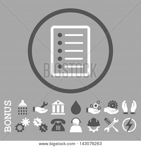 List Page glyph bicolor icon. Image style is a flat pictogram symbol inside a circle, dark gray and white colors, silver background. Bonus images are included.