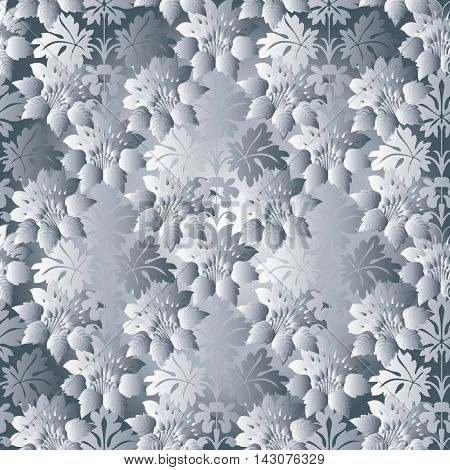 Light white floral modern vector seamless pattern background with vintage volumetric flowers and ornaments. Stylish  illustration and 3d decor elements with shadow and highlights. Endless elegant  texture.