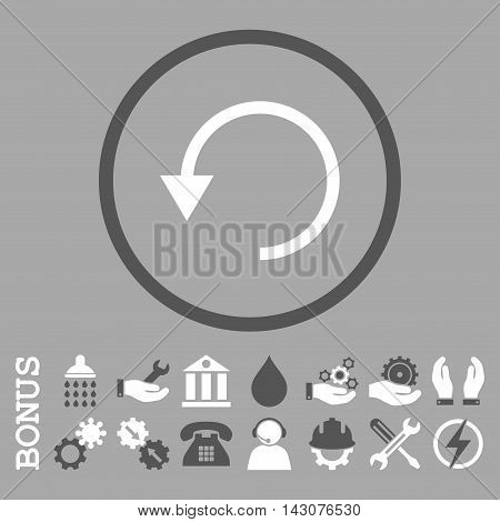 Rotate Ccw glyph bicolor icon. Image style is a flat pictogram symbol inside a circle, dark gray and white colors, silver background. Bonus images are included.
