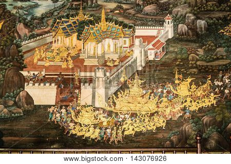 BANGKOK THAILAND - MARCH 9 2016: Detail of Thai Mural wall painting at Wat Phra Kaew the most sacred Buddhist temple and the most famous tourist attraction in Bangkok Thailand.