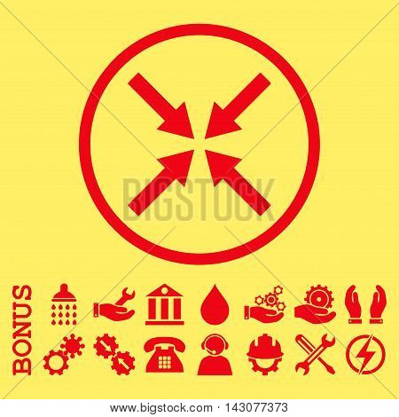 Center Arrows glyph icon. Image style is a flat pictogram symbol inside a circle, red color, yellow background. Bonus images are included.
