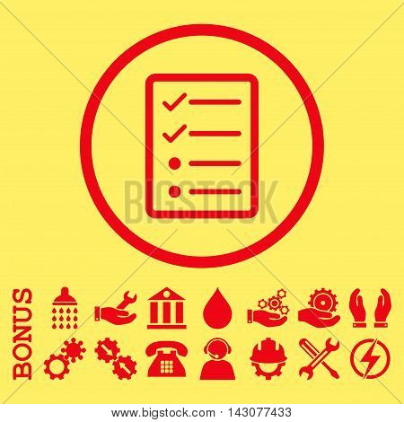 Checklist Page glyph icon. Image style is a flat pictogram symbol inside a circle, red color, yellow background. Bonus images are included.