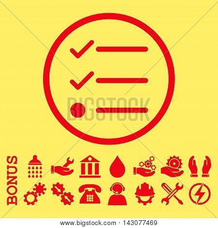 Checklist glyph icon. Image style is a flat pictogram symbol inside a circle, red color, yellow background. Bonus images are included.