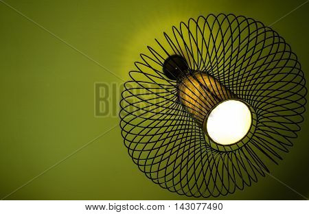 Worms eye view of a modern chandelier