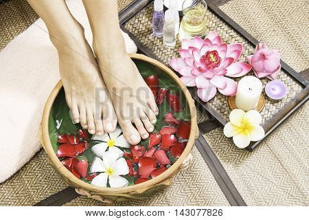 Spa treatment and product for female feet and hand spa, Thailand.