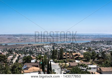 A water basin in San Diego seen from Spring Valley, California