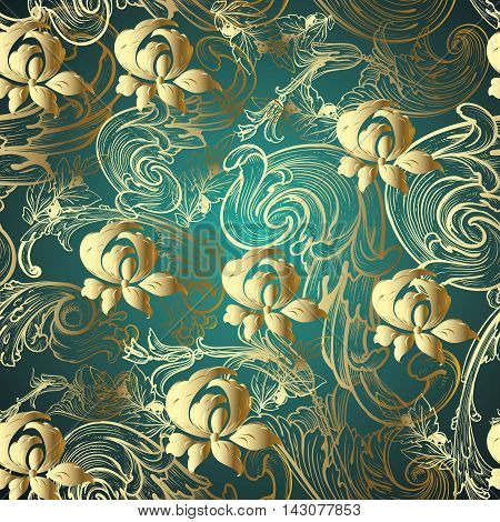 Dark green emerald baroque floral modern vector seamless pattern background with vintage gold volumetric flowers and vintage ornaments. Stylish  illustration and 3d decor elements with shadow and highlights. Endless elegant  texture.