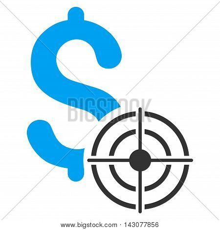 Business Target icon. Glyph style is bicolor flat iconic symbol with rounded angles, blue and gray colors, white background.