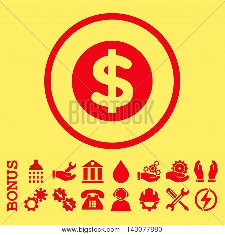 Finance glyph icon. Image style is a flat pictogram symbol inside a circle, red color, yellow background. Bonus images are included.