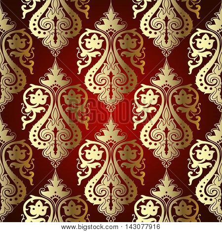 Red classical royal damask baroque vector vintage seamless pattern background with elegant decorative oriental  volumetric silver ornaments. Luxury element for design in Eastern style.Ornate 3d decor with shadow and highlights.