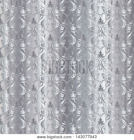 Silver damask baroque vector vintage seamless light pattern background with elegant decorative oriental  volumetric silver ornaments. Luxury element for design in Eastern style.Ornate 3d decor with shadow and highlights.