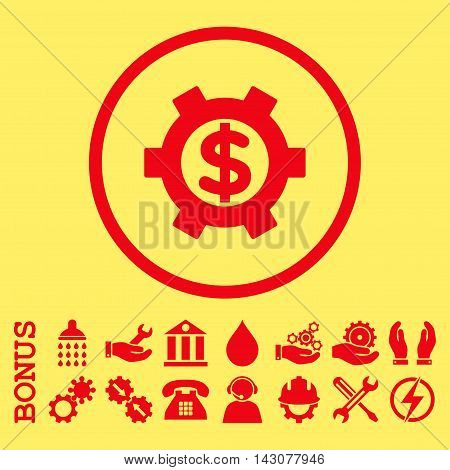 Financial Settings glyph icon. Image style is a flat pictogram symbol inside a circle, red color, yellow background. Bonus images are included.