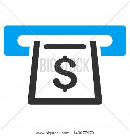 Cashout Slot icon. Glyph style is bicolor flat iconic symbol with rounded angles, blue and gray colors, white background.