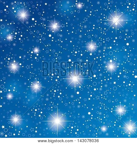 Night sky with stars on dark blue background. Christmas blue stars background.