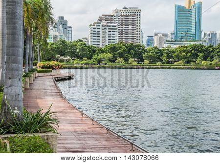 BANGKOK, THAILAND - August 13,2015 : Park View at Benjasiri Park the on August 13,2015 in Bangkok. Here is the Park in Bangkok - Thailand.
