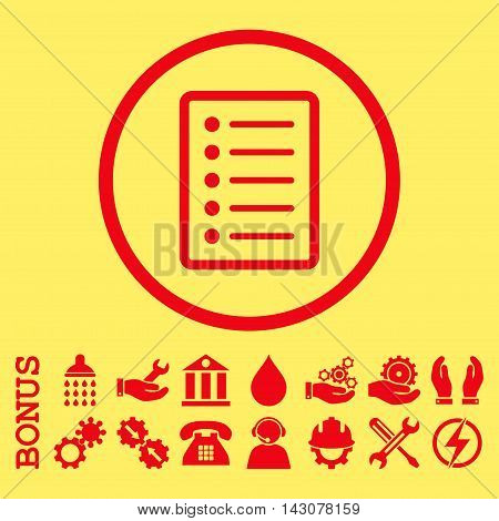 List Page glyph icon. Image style is a flat pictogram symbol inside a circle, red color, yellow background. Bonus images are included.