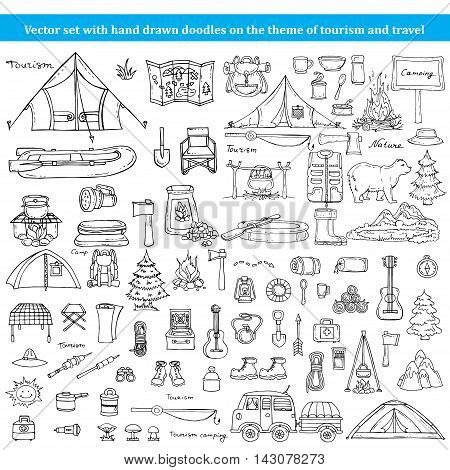 Vector set with hand drawn isolated doodles on the theme of tourism and travel. Sketches for use in design, web site, packing, textile, fabric