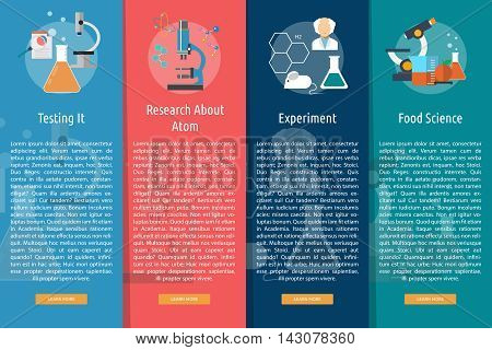 Science and Research | Set of great vertical banner flat design illustration concepts for science, research, technology, physics, chemistry and much more.