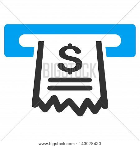 Paper Receipt Machine icon. Glyph style is bicolor flat iconic symbol with rounded angles, blue and gray colors, white background.