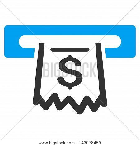 Paper Receipt Terminal icon. Glyph style is bicolor flat iconic symbol with rounded angles, blue and gray colors, white background.