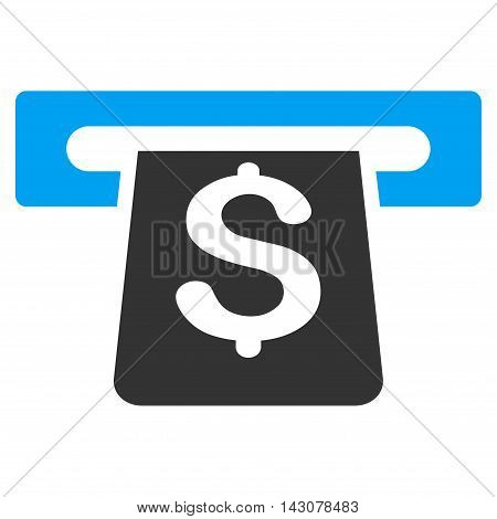 Payment Terminal icon. Glyph style is bicolor flat iconic symbol with rounded angles, blue and gray colors, white background.