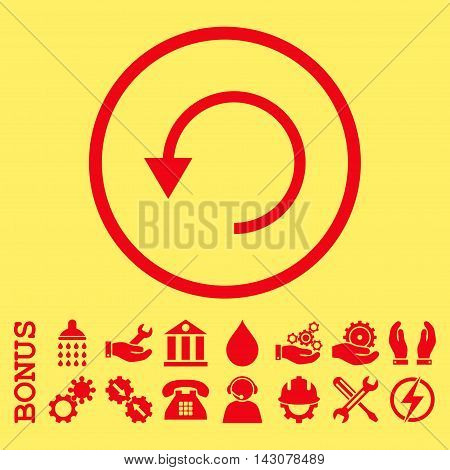 Rotate Ccw glyph icon. Image style is a flat pictogram symbol inside a circle, red color, yellow background. Bonus images are included.