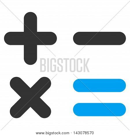 Calculator icon. Vector style is bicolor flat iconic symbol with rounded angles, blue and gray colors, white background.