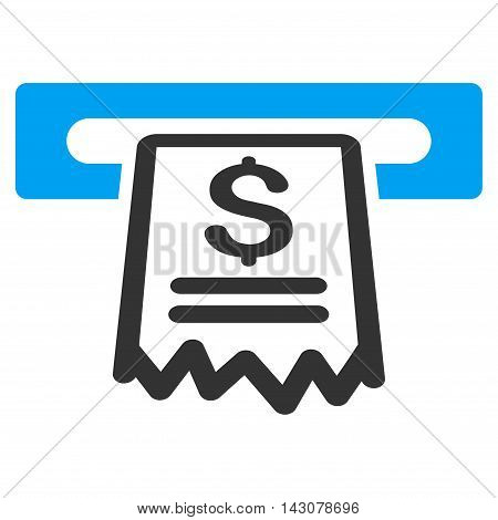 Cashier Receipt icon. Vector style is bicolor flat iconic symbol with rounded angles, blue and gray colors, white background.