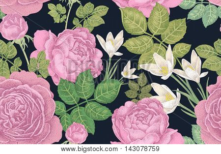 Vector seamless pattern with roses. Designs for fabrics, textiles, paper, wallpaper.