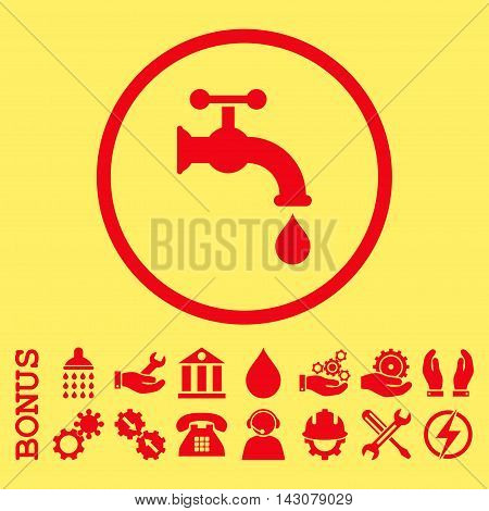 Water Tap glyph icon. Image style is a flat pictogram symbol inside a circle, red color, yellow background. Bonus images are included.