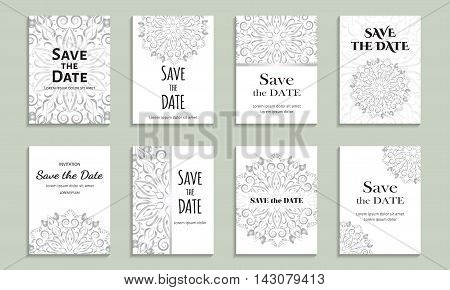 Set of cards save the date. Vintage template silver circular pattern. Vector illustration for corporate identity, individual cards, form style.