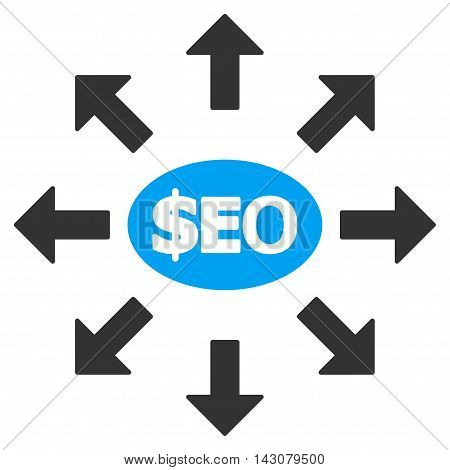 Seo Marketing icon. Vector style is bicolor flat iconic symbol with rounded angles, blue and gray colors, white background.