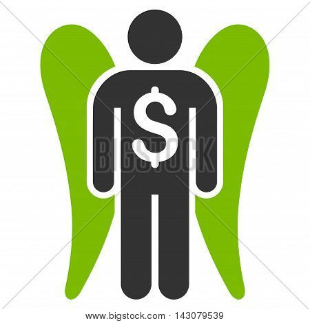 Angel Investor icon. Vector style is bicolor flat iconic symbol with rounded angles, eco green and gray colors, white background.