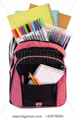 School bag backpack filled with student supplies